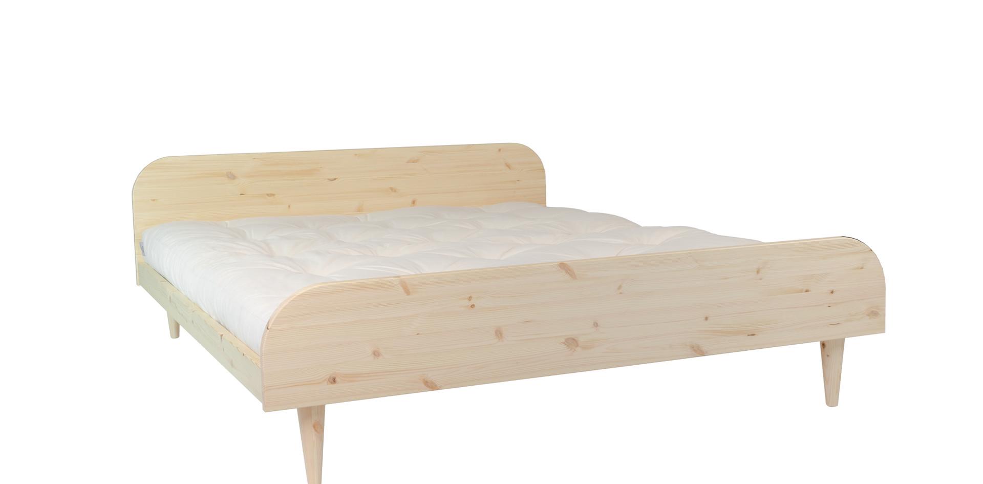 ξύλινο διπλό κρεβάτι με χαμηλό κεφαλάρι