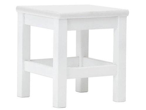 ξύλινο σκαμπώ-τραπεζάκι από μασίφ σε λευκό χρώμα