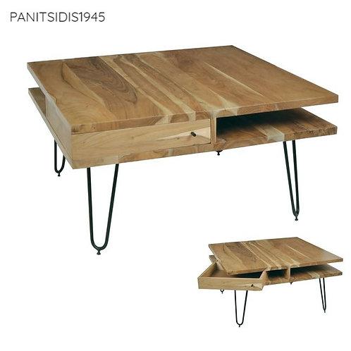 cofee table square,τετρπαγωνο τραπεζάκι σαλονιού από μασίφ ξύλο ακακίας 87Χ85 με συρταράκι