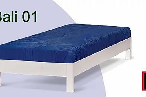 μονό κρεβάτι από μασίφ ξύλο-υπόστρωμα