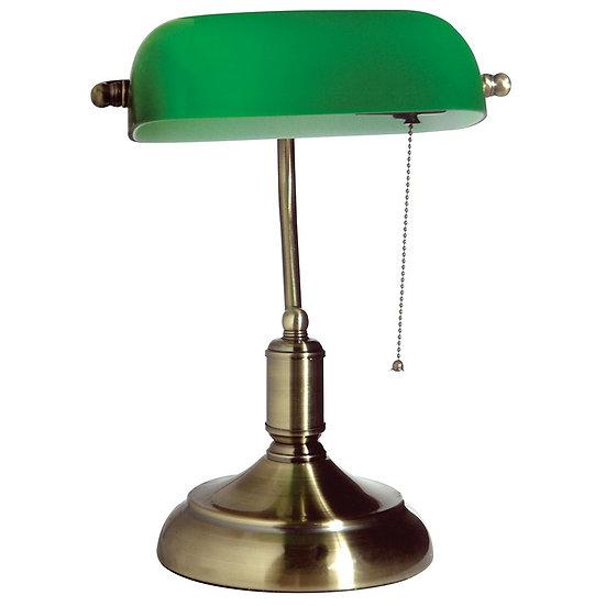 φωτιστικό γραφείου σε κλασσική γραμμή με πράσινο γυαλί και  οξιντέ βαφή