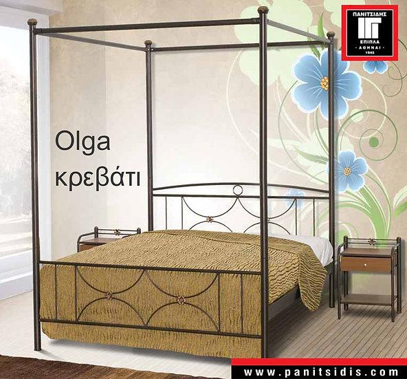 ημίδιπλο μεταλλικό κρεβάτι με ουρανό για στρώμα 110Χ200 εκ.