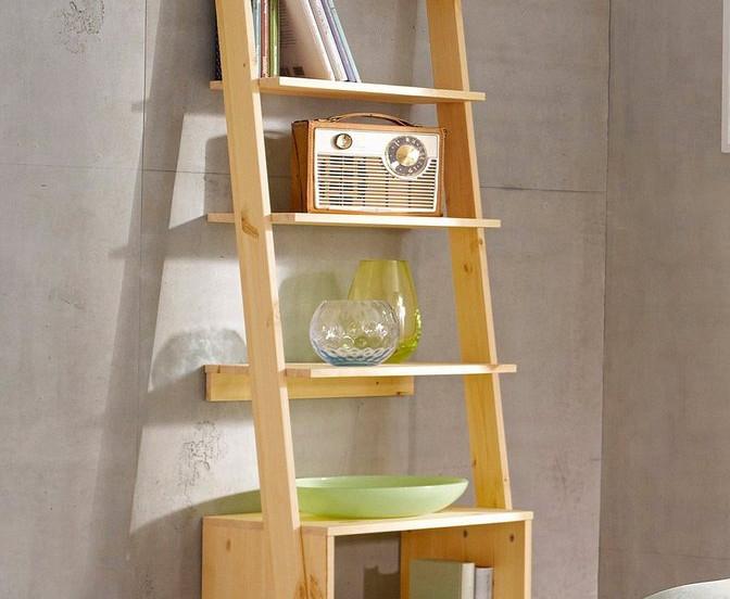 ξύλινη βιβλιοθήκη-ραφιέρα σε διάφορα χρώματα