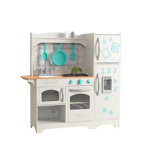 παιδική κουζίνα με ψυγείο και φούρνο μικροκυμάτων kidkraft