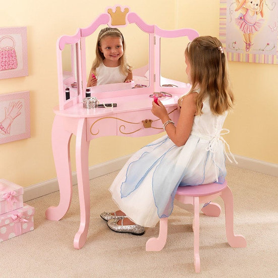 Princess vanity and stool