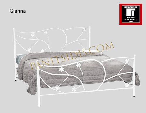 διπλό μεταλλικό-σιδερένιο κρεβάτι για στρώμα 160Χ200 εκ., σε πολλά χρώματα βαφής.Metal bed for mattress 160X200
