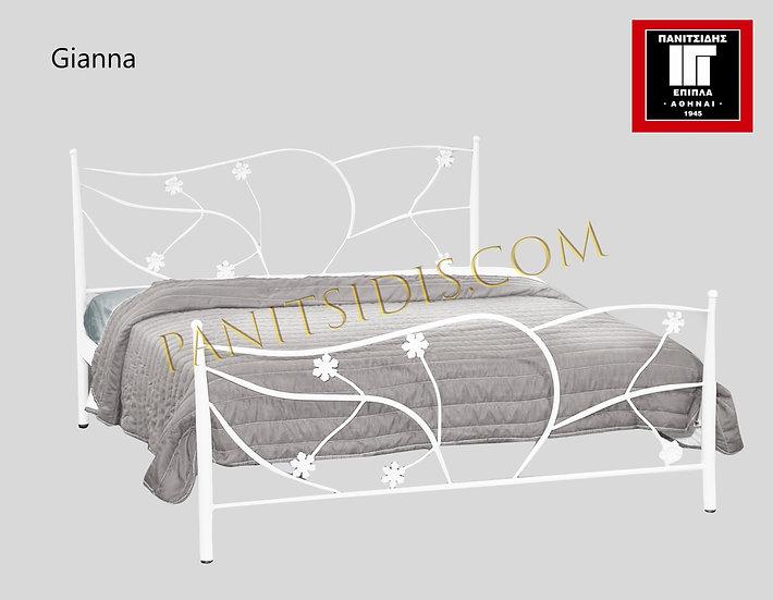 διπλό μεταλλικό κρεβάτι για στρώμα 150 Χ 200 εκ., σε πολλά χρώματα βαφής.Metal bed for mattress 150X200, metal bed