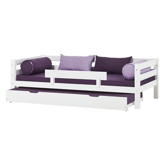 ξύλινο παιδικό κρεβάτι με πλάτη και 2ο συρόμενο κρεβάτι