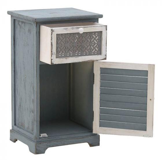κομοδίνο-τραπεζάκι με συρταράκι και πόρτα σε γκρι-μπλε πατίνα.