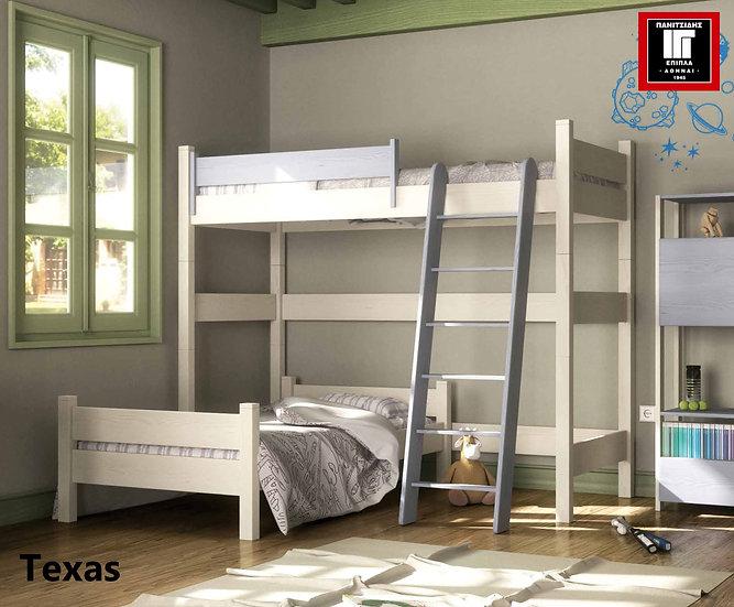 ημίδιπλη γωνιακή κουκέτα από μασίφ ξύλο 2 κρεβάτια