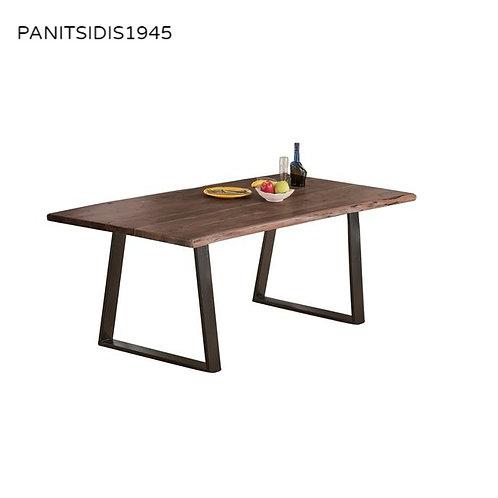 μασίφ τραπέζι από μασίφ ξύλο και μεταλλική βάση σε μαύρο χρώμα 160 Χ 90 εκ.