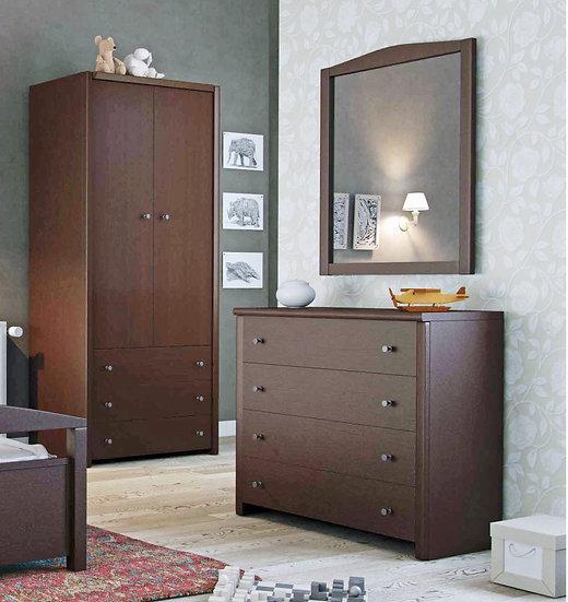 ντουλάπα με 2 πόρτες και συρτάρια και συρταριέρα με 4 συρτάρια για το παιδικό δωμάτιο