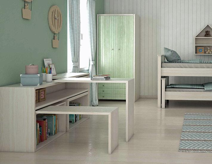 πτυσσόμενο ξύλινο γραφείο για 2 άτομα, παιδικό-εφηβικό