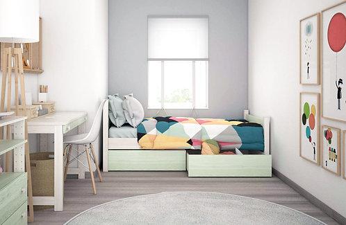 ημίδιπλο ξύλινο κρεβάτι με 2 συρτάρια, σε πολλά χρώματα