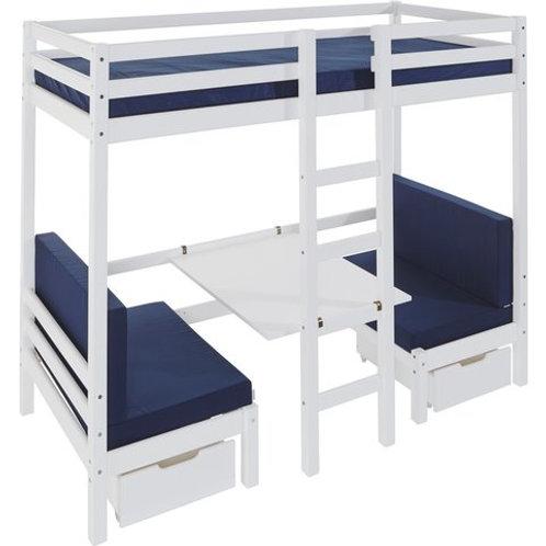 κουκέτα από μασίφ ξύλο με 2 καναπέδες και πτυσσόμενο γραφείο