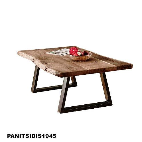 τραπεζάκι σαλονιού από μασίφ ξύλο σε φυσικό χρώμα και μαύρη ατσάλινη βάση 115 Χ 65 εκ.