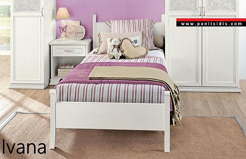 εφηβικό νεανικό κρεβάτι λευκή πατίνα κλασσικό σχέδιο
