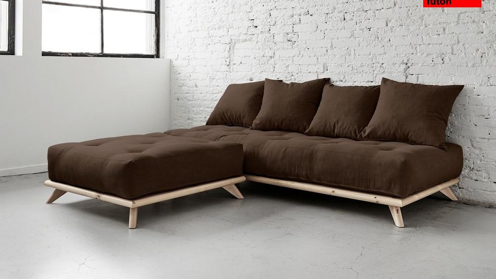 ξύλινος καναπές γωνία με στρώμα futon