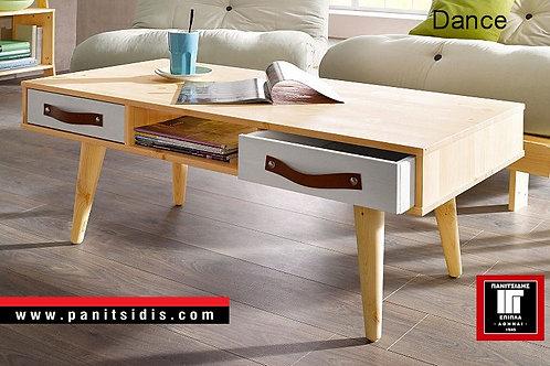 τραπεζάκι μέσης από ξύλο σε φυσικό χρώμα με 2 συρτάρια