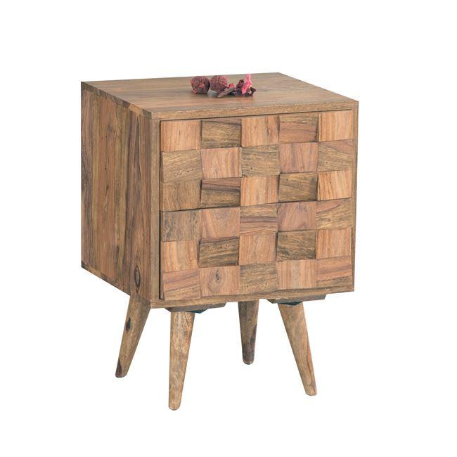 κομοδίνο με 2 συρτάρια από μασίφ ξύλο ακακίας