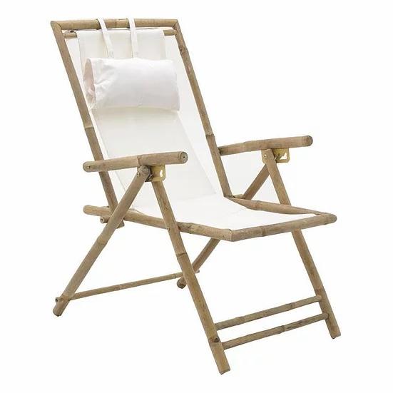 Ξύλινη πολυθρόνα μπαμπού σεζ λονκ