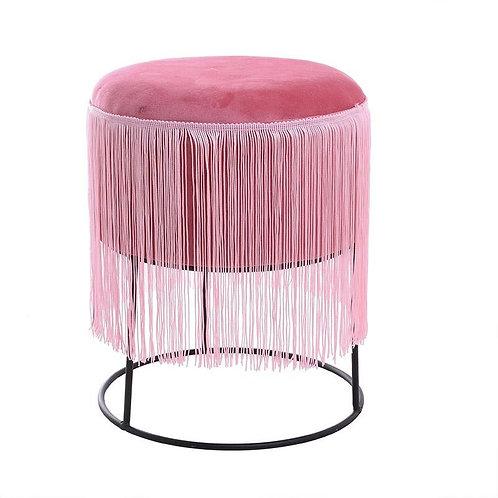 πουφ μεταλλικό με ροζ βελούδο ύφασμα