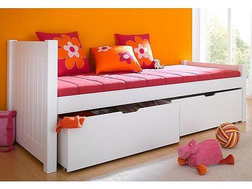 μονό ξύλινο κρεβάτι σε λευκό ξύλο μα 2 βαθειά συρτάρια