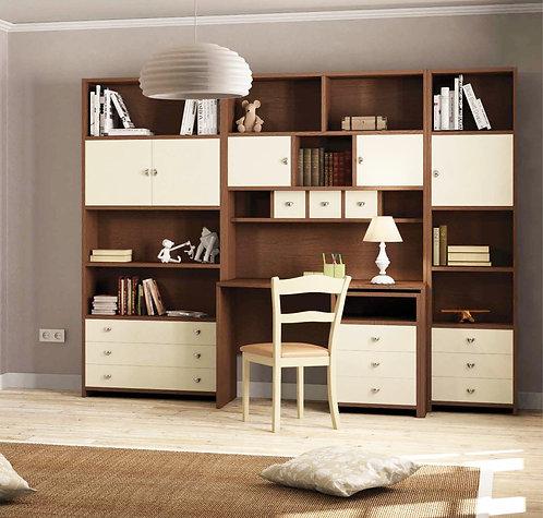 σετ γραφείου με τροχήλατη συρταριέρα και επικαθήμενη βιβλιοθήκη