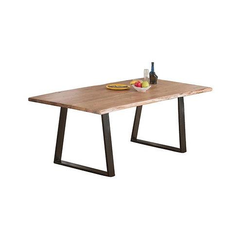 μασίφ ξύλινο τραπέζι 200Χ95 σε φυσικό χρώμα και μαύρη ατσάλινη βάση