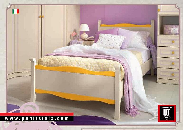 μονό ημίδιπλο ιταλικό κρεβάτι σε πατίνα λευκό εκρού,krebatia italias paidika ekrou patina
