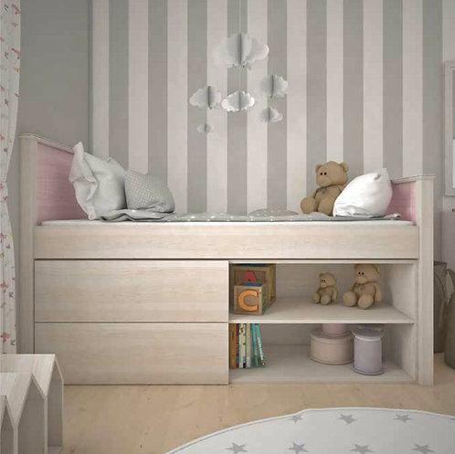 μονό ξύλινο κρεβάτι με 2 συρτάρια και ράφια