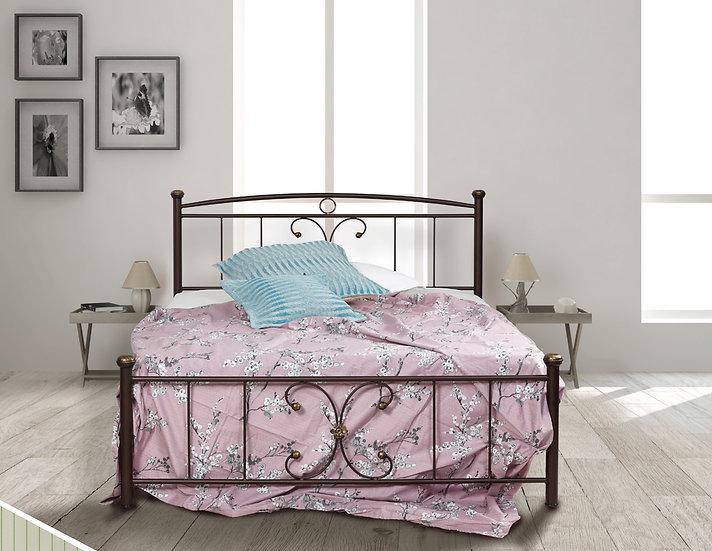 Μεταλλικό κρεβάτι με στρώμα και τάβλες. πακέτο