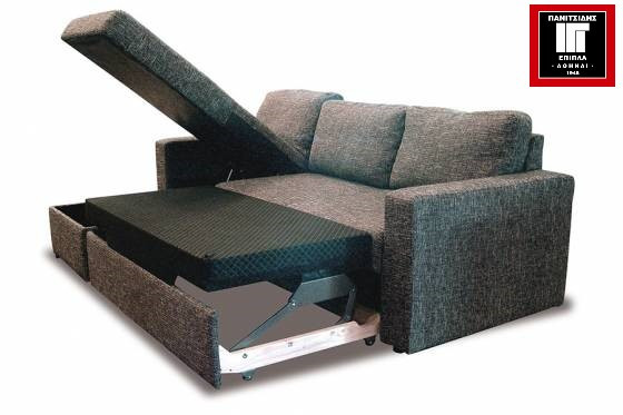 Γωνιακός καναπές με μηχανισμό κρεβατιού και αποθηκευτικό χώρο