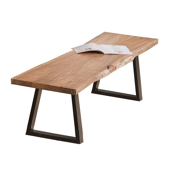 πάγκος-κάθισμα από μασίφ ξύλο ακακίας και μεταλλικά πόδια μαύρο