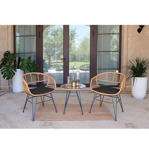 σετ βεράντας κήπου 3 τεμαχίων με 2 πολυθρόνες και τραπέζι από μέταλλο και wicker
