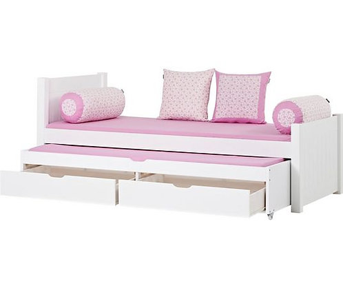 ξύλινο παιδικό κρεβάτι με 2ο συρόμενο και 2 συρτάρια σε λευκή λάκα