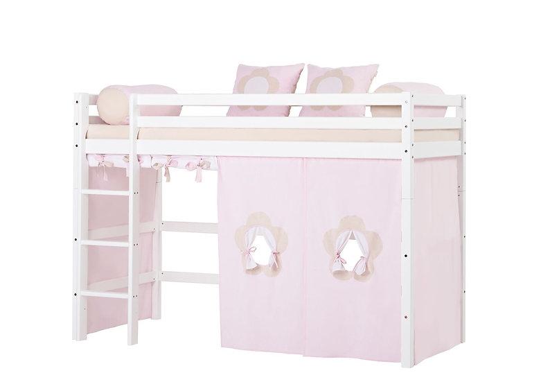 βαμβακερές κουρτίνες σε απαλό ροζ για την ξύλινη μασίφ παιδική μας κουκέτα