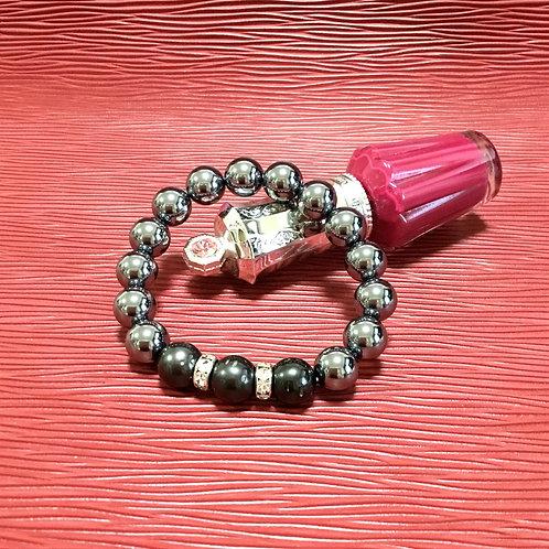 高純度テラヘルツブレスレット 10㎜ 黒真珠入り
