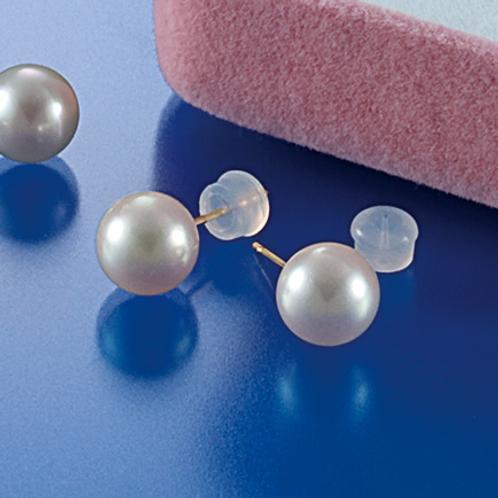 K18本真珠アコヤ8㎜ シンプルピアス