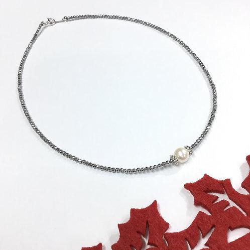SV 本真珠&キラキラヘマタイトネックレス