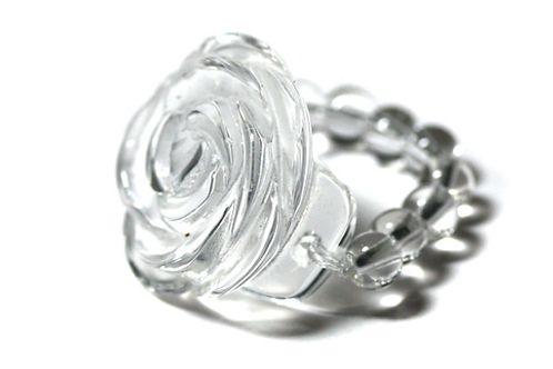 天然石 本水晶 薔薇リング
