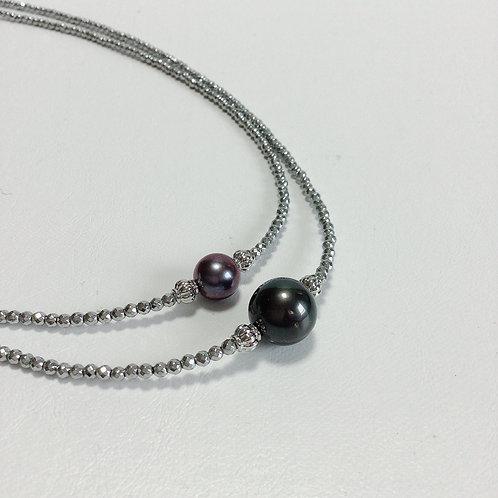ヘマタイトキラキラカットネックレス 黒真珠&淡水パール