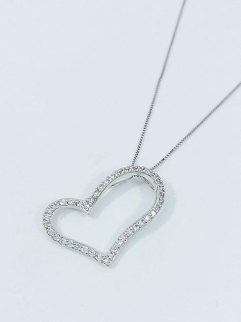 K18WG ダイヤモンドオープンハートネックレス