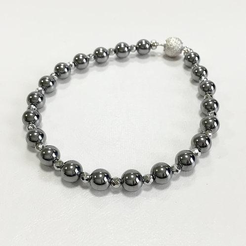 高純度テラヘルツ6㎜珠ブレスレット ヘマタイト入り3㎜