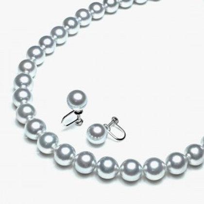 本真珠2点セット8.5-9.0㎜ グレー