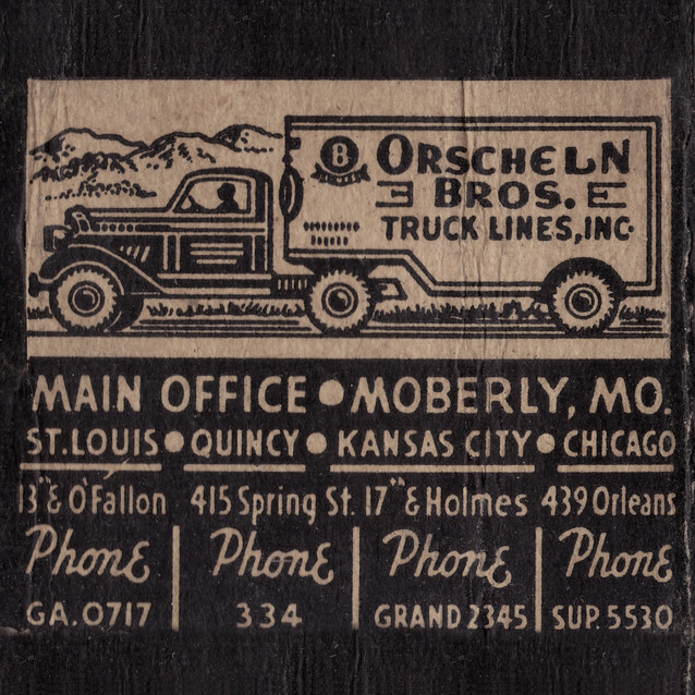 VINTAGE TRUCKING CO. MATCHBOOK COVERS