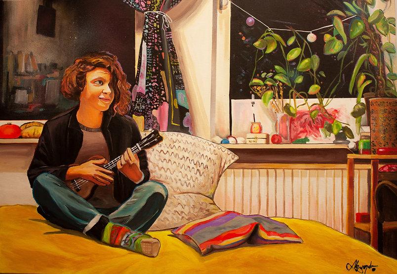 painting berlin artist Nina by Alejandroberlino