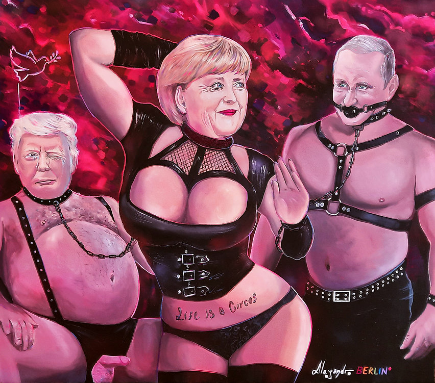 Angela Merkel Donald Trump Vladimir Putin fetish art berlin alejandro berlino