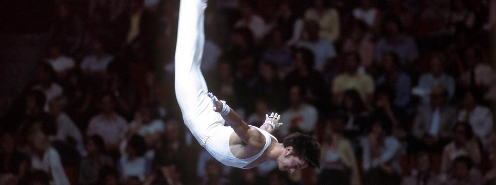 Lutz Mack bei den Olympischen Spielen 1976 in Montreal, wo er Team-Bronze holte. Er war ein Top-Mehrkämpfer, liebte vor allem Ringe, Sprung und Boden