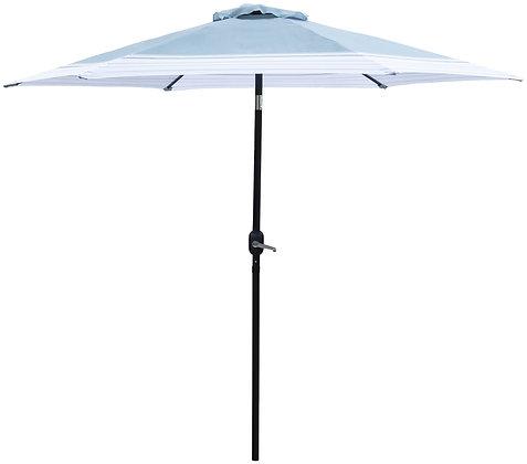 Seasonal Trends 9 Ft Tilt/Crank Market Umbrella, Blue/White
